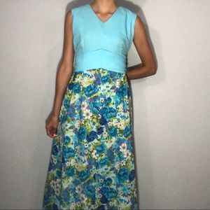 60s/70s floral maxi dress with bow